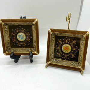 VICTORIAN Style Hand Painted Quilling Signed Art 2